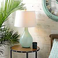Swirl Blue Glass Table Lamp