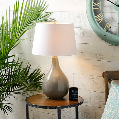 Swirl Gray Glass Table Lamp