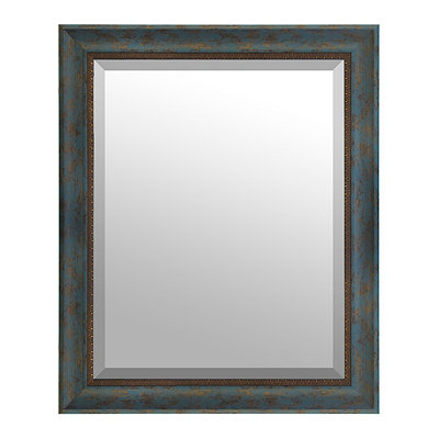 Peacock and Gold Framed Mirror, 27.5x33.5 in.