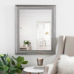 Silver Snake Skin Framed Mirror, 27.5x33.5 in.