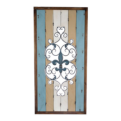 Cutout Fleur-de-Lis Wood and Metal Wall Plaque