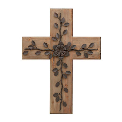 Rustic Floral Wooden Cross