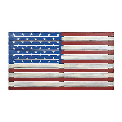 American Flag Wood Plank Plaque