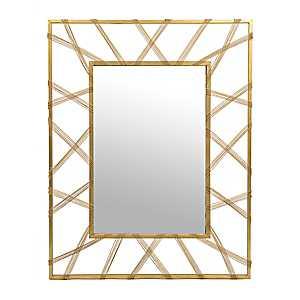 Carolina Gold Beaded Metal Mirror, 36.25x46.5 in.