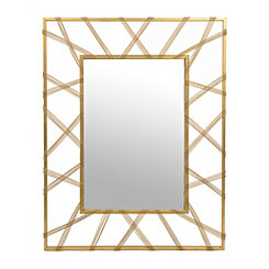 Carolina Gold Beaded Metal Mirror, 36.25x46.5 in.