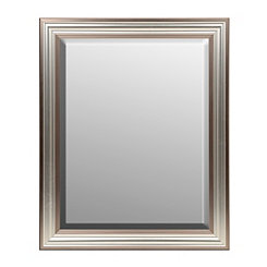 Two Tone Silver Framed Mirror, 33.5x27.5 in.