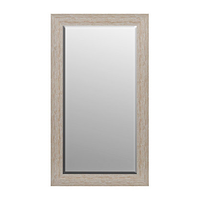 Distressed White Wavy Framed Mirror, 31.5x55.5 in.