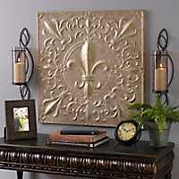 Beige and Gold Fleur-de-Lis Tile Metal Plaque