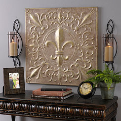 Beige and Gold Fleur-de-Lis Tile Metal Plaque