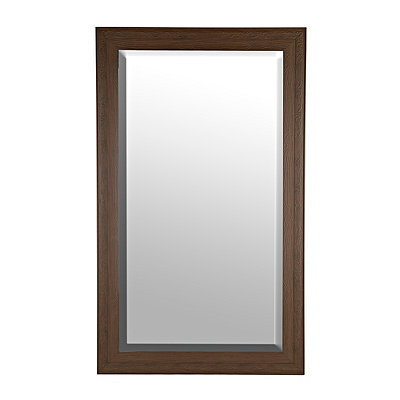 Carved Dark Wood Grain Framed Mirror, 76x46 in.