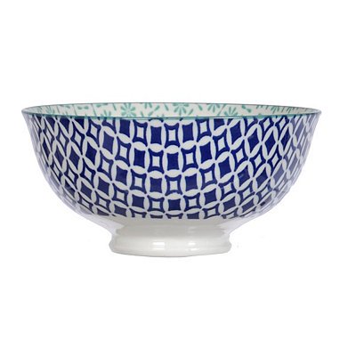 Aqua and Blue Patterned Tidbit Bowl