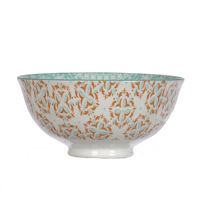 Aqua and Coral Patterned Tidbit Bowl