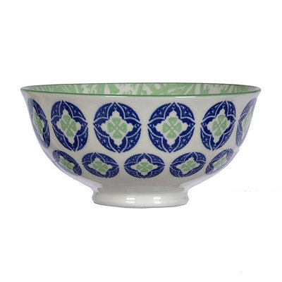 Blue and Lime Patterned Tidbit Bowl