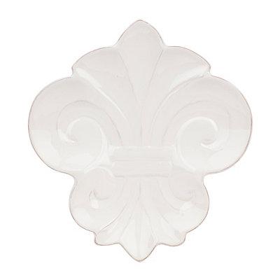 Ceramic White Fleur-de-lis Platter