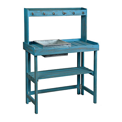 Distressed Blue Potting Table