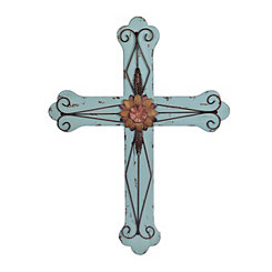 Wood and Metal Flower Cross Plaque