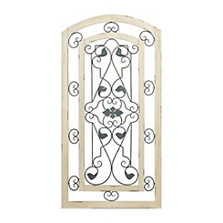 Elodie Ornate Arch Wood and Metal Wall Plaque
