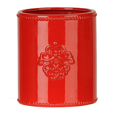 Red Ceramic Medallion Utensil Holder