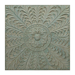 Turquoise Blooming Floral Tile Metal Plaque