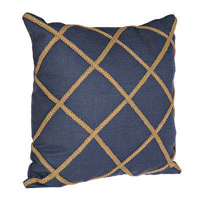 Navy Jute Lattice Pillow