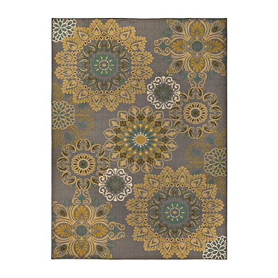 Aqua and Yellow Medallion Jackson Area Rug, 5x7