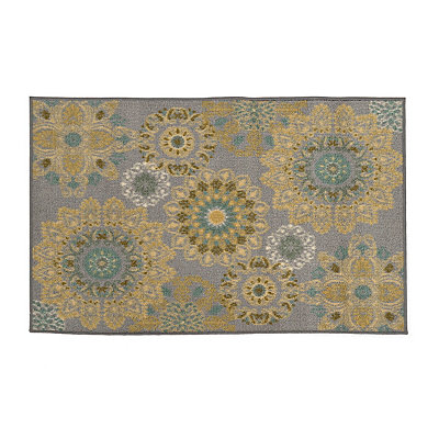 Aqua and Yellow Medallion Jackson Scatter Rug