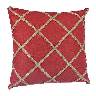 Red Jute Lattice Pillow