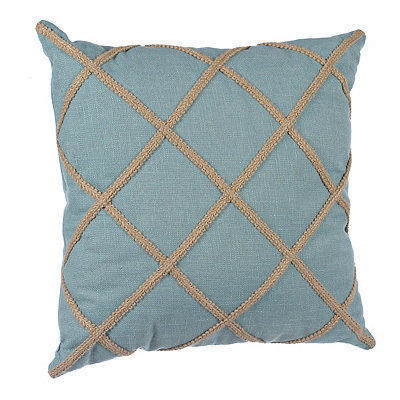 Aqua Jute Lattice Pillow