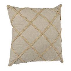 Taupe Jute Lattice Pillow