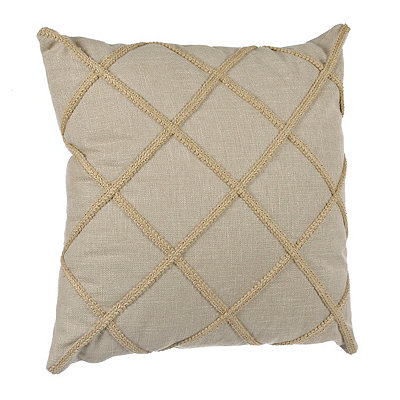 Taupe Jute Lattice Pillow