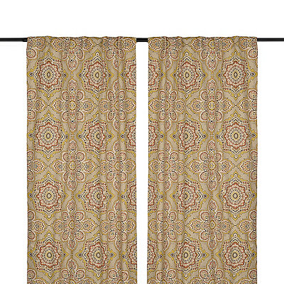 Mustard Lapperine Curtain Panel Set, 84 in.