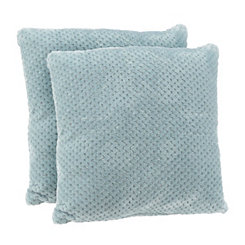 Blue Plush Luxe Pillows, Set of 2