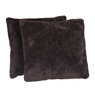 Chocolate Plush Luxe Pillows, Set of 2
