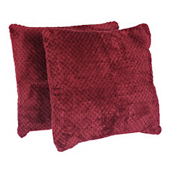 Red Plush Luxe Pillows, Set of 2