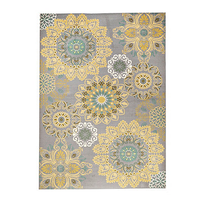 Aqua and Yellow Medallion Jackson Area Rug, 7x9
