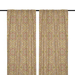 Mustard Lapperine Curtain Panel Set, 108 in.
