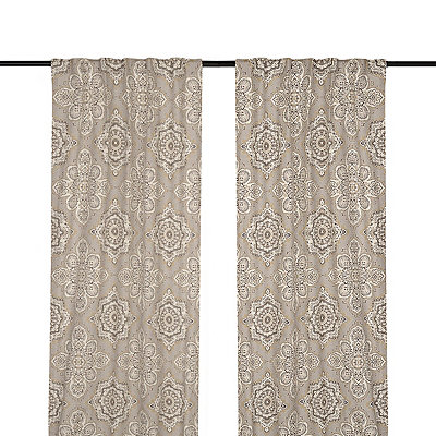 Tan Lapperine Curtain Panel Set, 96 in.