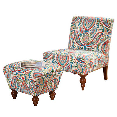 Multi Color Paisley Slipper Chair and Ottoman Set