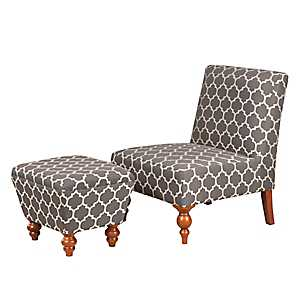 Gray Quatrefoil Slipper Chair and Ottoman Set