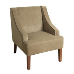 Tan Velvet Swoop Accent Chair
