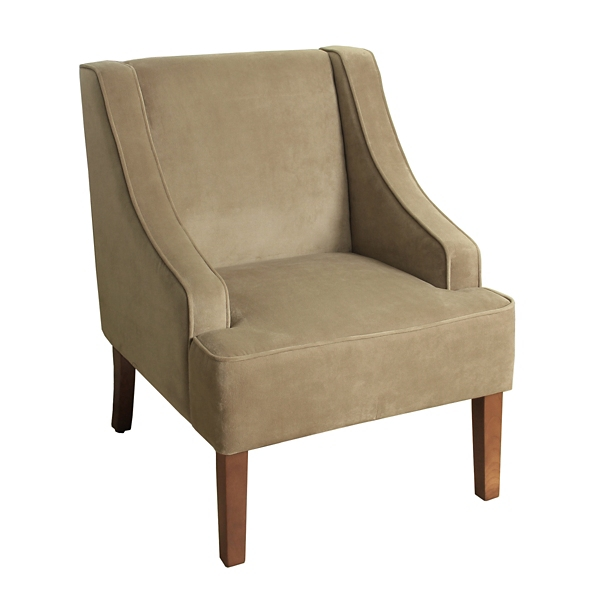 Tan Velvet Swoop Accent Chair