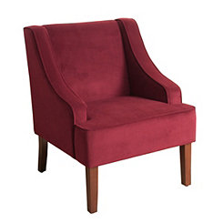 Burgundy Velvet Swoop Accent Chair