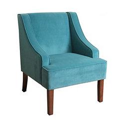 Turquoise Velvet Swoop Accent Chair