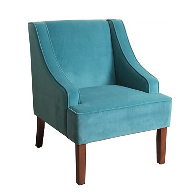 Turquoise Velvet Swoop Accent Chair