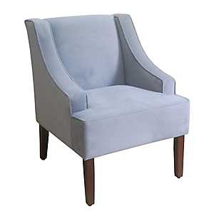 Gray Velvet Swoop Accent Chair