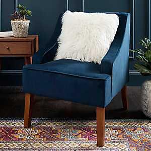 Navy Velvet Swoop Accent Chair