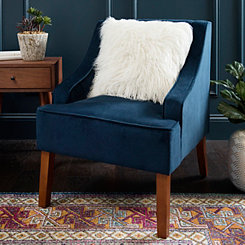 Navy Velvet Swoop Accent Chair