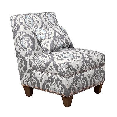 Slate Blue Ikat Slipper Chair