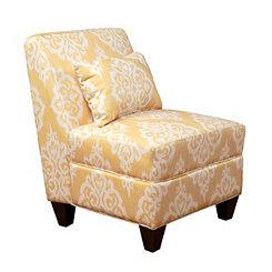 Yellow Damask Slipper Chair