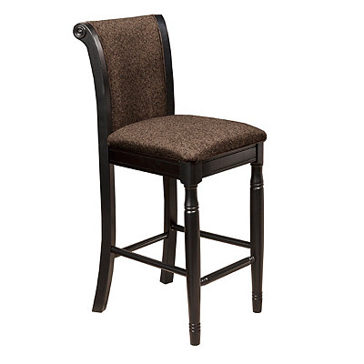 Brown Chenille Upholstered Bar Stool